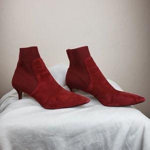 Steven  Steve Madden Red Suede & Sweater Heels 10